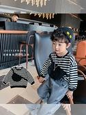 瞇瞇眼2021春裝新款男童個性包包衛衣兒童圓領條紋上衣寶寶長袖潮 幸福第一站