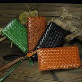 真皮皮夾(長夾)-經典編織紋便攜式手腕帶男錢包4色73qs23[時尚巴黎]