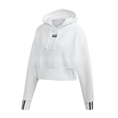 adidas 長袖T恤 Cropped Hoodie 白 黑 女款 帽T 短版 運動休閒 【PUMP306】 EJ8536