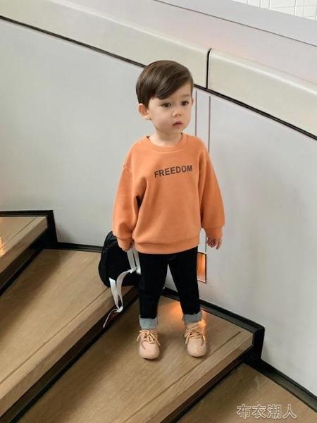 兒童長袖 男童長袖上衣潮秋冬裝男寶寶衛衣秋季兒童文字變色衛衣 布衣潮人