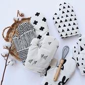 北歐棉麻烘焙加厚手套簡約黑白烤箱防燙手套微波爐隔熱耐高溫手套【快速出貨八折優惠】