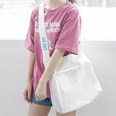帆布袋 字母 印花 帆布包 簡約 小方包 購物袋--側背包/斜背包【SPA168】 icoca  07/19