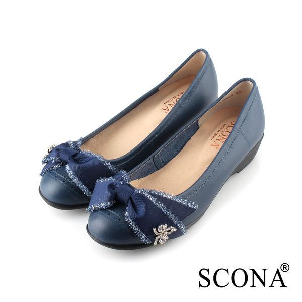 SCONA 蘇格南 全真皮 精緻緞飾舒適楔型鞋 藍色 22706-2