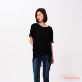 Victoria 假二件式全蕾絲長版短袖T-女-V85415