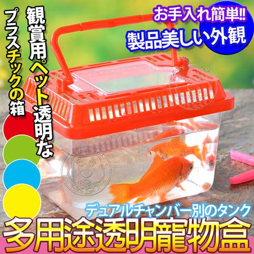 【培菓幸福寵物專營店】dyy》手提便利水族箱魚缸寵物盒S號15*9.5*11cm