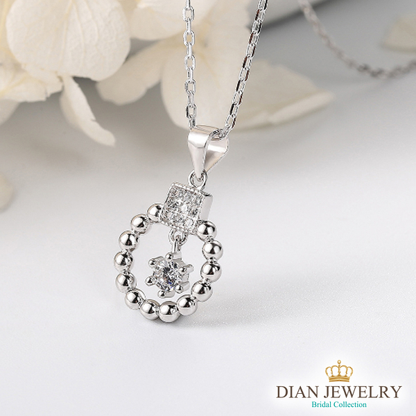 【DIAN 黛恩珠寶】保護 925純銀CZ鑽石項鍊(SS31493)