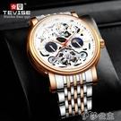 手錶 瑞士手錶TEVISE手錶鏤空男錶時尚陀飛輪防水手錶夜光機械錶