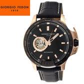 【萬年鐘錶】Giorgio Fedon 1919義大利工藝 TIMELESS IV 黑x玫瑰金+銀x黑皮帶