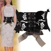 蕾絲腰封綁帶系帶時尚韓版寬女士腰帶女式裝飾配洋裝 DN11471【衣好月圓】