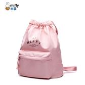 米菲2019新款潮抽繩束口袋雙肩包女輕便尼龍布運動旅行大容量背包