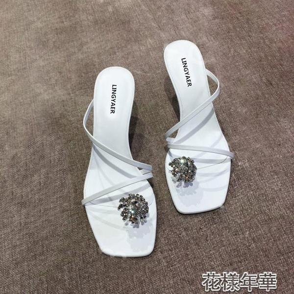 新款春夏水鉆裝飾時尚百搭細跟高跟鞋露趾綁帶涼鞋拖鞋 618大促銷