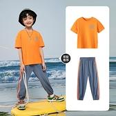 多多家童裝男童T恤2021夏季新款洋氣中大童棉感親膚短袖撞色潮 幸福第一站