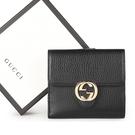 GUCCI金屬雙G Logo牛皮扣式零錢中短夾(黑色)342121