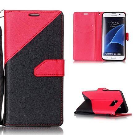 【SZ15】三星Galaxy S7 Edge 金沙紋拼接手機皮套 支架保護殼 S7手機皮套