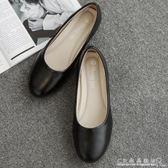 酒店工作鞋女黑色上班鞋女士皮鞋防滑軟底舒適百搭平底鞋職業女鞋 『CR水晶鞋坊』