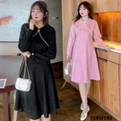 (現貨+預購 FUWAFUWA)-加大尺碼珍珠領麂皮絨長袖洋裝小禮服