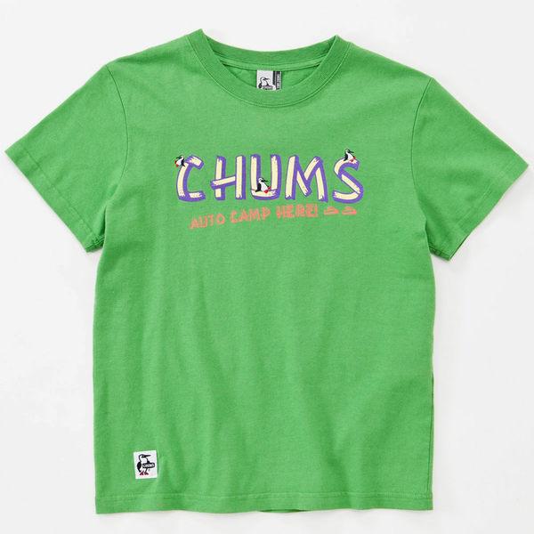 CHUMS 日本 女 露營指標 亞麻混棉 短袖T恤 綠 CH111129M001