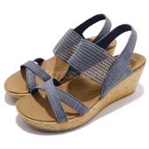 Skechers 涼鞋 Beverlee-High Tea 藍 咖啡 楔形 厚底 高跟 女鞋 涼拖鞋【PUMP306】 31723NVY