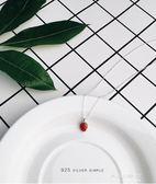 925銀韓國銀可愛草莓ins項鍊女鎖骨鍊簡約學生森繫韓版脖頸飾品潮   東川崎町