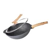 麥飯石炒鍋不粘鍋無油煙炒菜鍋家用平底鍋電磁爐燃氣灶適用    伊芙莎YYS