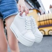 帆布鞋 厚底 2019低筒女夏韓版學生內增高女鞋子休閒鞋白色厚底松糕單鞋