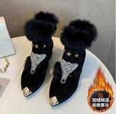 歐洲站女士加絨狐貍頭毛毛鞋女粗跟高跟鞋尖頭短靴兔毛雪地靴 XN7309【極致男人】