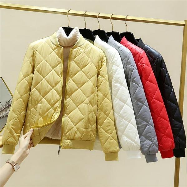 輕薄羽絨棉服女短款2021冬季新款韓版修身小棉衣夾克棒球棉襖外套 韓國時尚週
