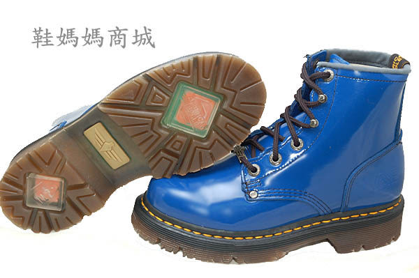 【鞋媽媽】[女]全新AE馬丁鞋*6孔短靴*藍色*真皮*防滑防潑水*ae202