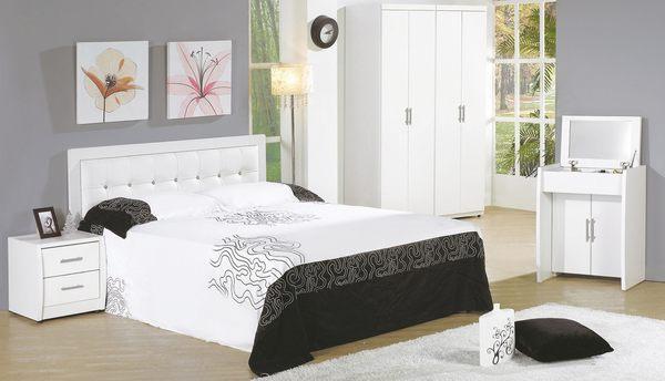 【森可家居】亞斯5尺白色雙人小半套床組 7JF073-A 臥房間組合 MIT台灣製造