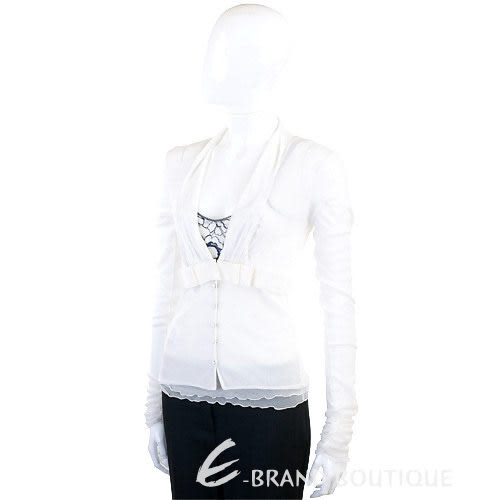 PAOLA FRANI 白色蕾絲飾兩件式上衣 0910217-20