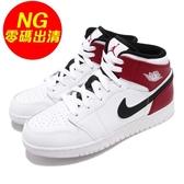 【US5.5-NG出清】Nike Air Jordan 1 Mid GS 大小腳(左腳5Y) 無原盒 白 紅 喬丹 1代 大童鞋 女鞋 【ACS】