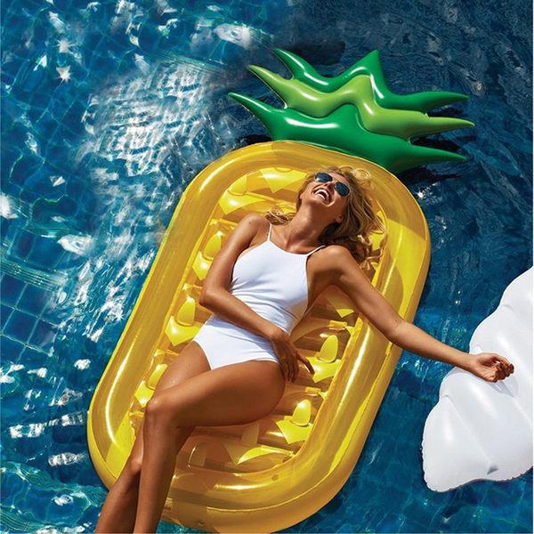 鳳梨 造型 泳圈 浮排 浮板 救生圈 浮床 夏日 休閒 度假 海邊 沙灘 【庫奇小舖】