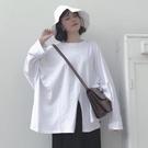 【限時下殺89折】女t恤 白色長袖t恤女秋天正韓寬鬆大尺碼女裝不規則開叉上衣服潮