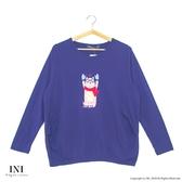 【INI】休閒溫暖、簡單輕鬆好感長袖上衣.深藍色