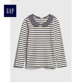 Gap女嬰幼童 柔軟休閒長袖彼得潘領上衣 489033-海軍藍條紋