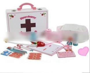 [Mother Garden]兒童木製仿真醫藥箱 過家家醫生玩具護士套裝組- 預購