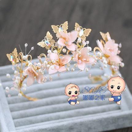 髮箍 兒童皇冠頭飾公主粉色花仙子髮箍頭花女童髮飾花環走秀演出飾品