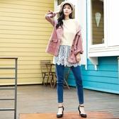 秋冬新品[H2O]蕾絲拼接中長版針織毛衣 - 黑/白/淺紫色 #0650006