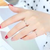 日式輕奢戒指網紅少女簡約鑚石鈦鋼玫瑰金食指尾戒小指環小眾設計
