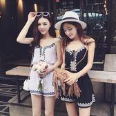 泰國度假刺繡連體衣套裝潮夏季民族風花色吊帶連體短褲沙灘熱褲女『潮流世家』