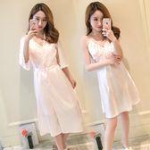 睡衣 女夏性感冰絲吊帶短袖兩件套裝睡裙可外穿夏天薄款家居服 GB4265『東京衣社』