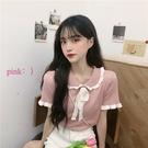 娃娃領上衣 韓版百搭網紅洋氣甜美溫柔風穿搭娃娃領薄款短袖t恤針織上衣女夏