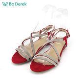 【Bo Derek 】金屬交叉鏈條平底涼鞋-紅色