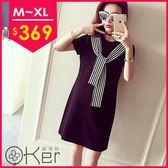 韓版條紋繫帶圓領短袖修身連身裙 O-Ker歐珂兒 LL81126-C
