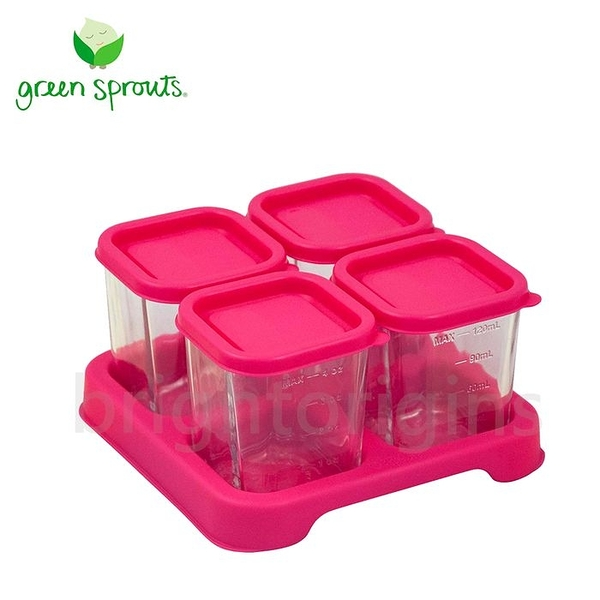 Green Sprouts 副食品小分裝盒120ml 一組4入(玻璃)-粉色[衛立兒生活館]