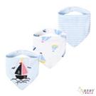 三角口水巾 圍兜兜三件組 純棉防水按扣 動力小帆船 (嬰幼兒/寶寶/兒童/小孩/小朋友)