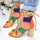 魚口鞋夏季新款大碼女士交叉綁帶粗跟高跟鞋時尚拼色魚嘴增高女涼鞋紓困振興