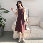 夏季女裝新款氣質復古格子中長裙子學生單排扣吊帶V領打底洋裝   芊惠衣屋