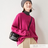 秋冬季新款純棉浮雕字母韓版女士學生寬鬆潮慵懶圓領打底衛衣 韓慕精品