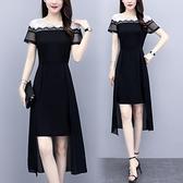 洋裝中大尺碼 胖MM甜美大碼女裝時尚夏季新款200斤雪紡時尚氣質中長款網紗連身裙女